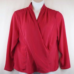 VINTAGE Additions Blouse Long Sleeve Faux Wrap Top